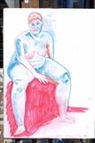 color pastels marila seated by martin jon piper, Drawing, Pastel on Paper