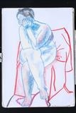 colored pastel isabel thinking by martin jon piper, Drawing, Pastel on Paper